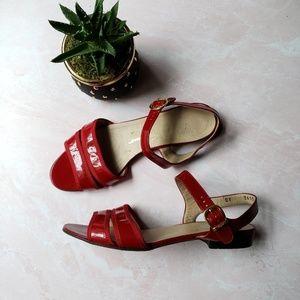 Salvatore Ferragamo Red Peep Toe Sandals Size 6.5B